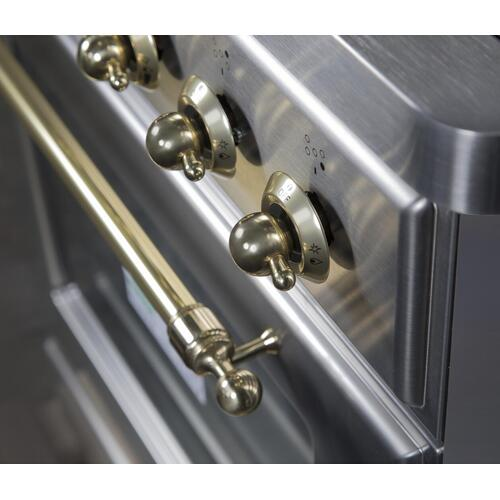 Ilve - Majestic II 30 Inch Dual Fuel Liquid Propane Freestanding Range in Stainless Steel with Brass Trim
