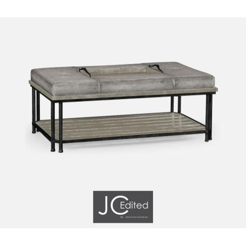 Cocktail ottoman in rustic grey