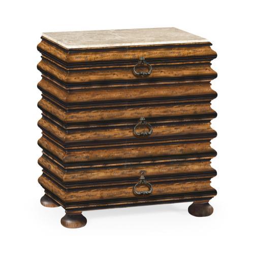 Rectangular Rustic Walnut Chest of Drawers