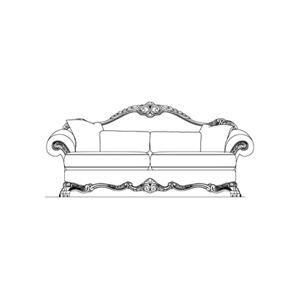 Wood Trim Camelback Sofa