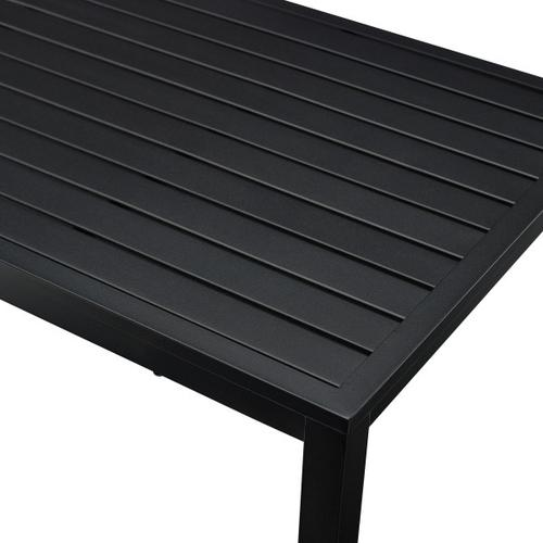 Slat Back Upholstered Outdoor Loveseat and Coffee Table Set in Black / Beige (Component 2 of 2)