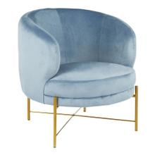 Chloe Accent Chair - Gold Metal, Powder Blue Velvet