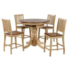 See Details - Round or Oval Butterfly Leaf Pub Table Set w/Slat Back Stools (5 piece)