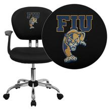 Florida International University Golden Panthers Embroidered Black Mesh Task Chair with Arms and Chrome Base