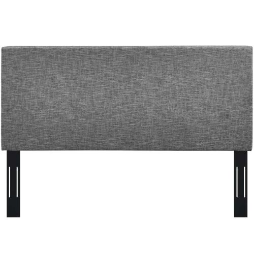 Taylor King and California King Upholstered Linen Fabric Headboard in Light Gray