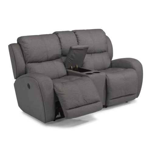 Chaz Fabric Power Reclining Loveseat with Console