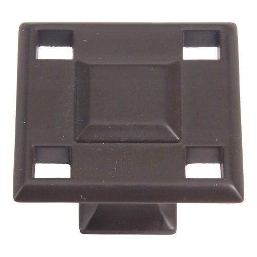 Atlas Homewares - Modern Craftsman Square Knob 1 5/16 Inch - Aged Bronze