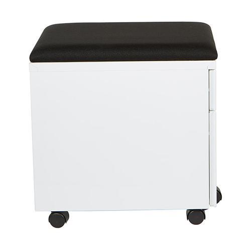 "Mobile Box/file Pedestal With Cushion, 22""d, White Finish / Black Fabric"
