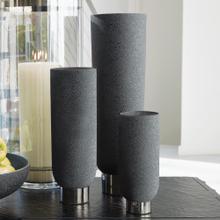 Silver Banded Vase-Black-Lg