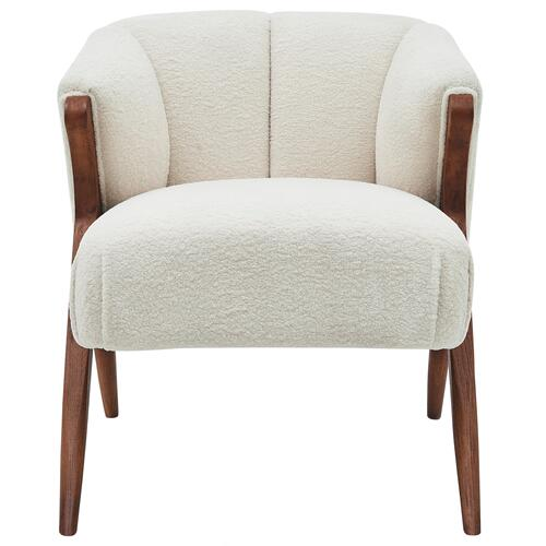 Florence Faux Shearling Fabric Accent Chair Brown Legs, Shearling Beige
