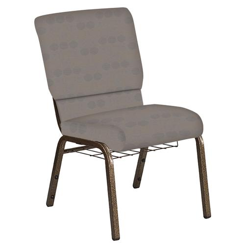 Flash Furniture - 18.5''W Church Chair in Galaxy Linen Fabric with Book Rack - Gold Vein Frame