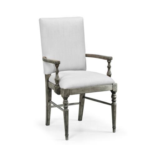 Antique Dark Grey Armchair, Upholstered in COM
