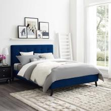 McKenzie Queen Biscuit Tufted Performance Velvet Platform Bed in Navy