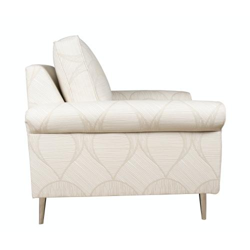 Capris Furniture - Contemparary style roll arm chair. Shown with 8'' round Tapered legs. Also available with 8'' Plinth base, 8'' Pyramid, or 8'' Square tube legs.