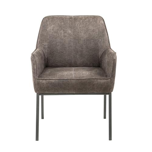 Upholstered Metal Leg Accent Chair in Warm Gray
