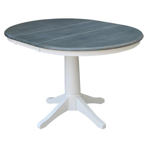 Round Extension Table in Heather Gray/ White