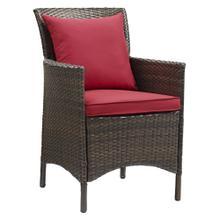 Conduit Outdoor Patio Wicker Rattan Dining Armchair in Brown Red