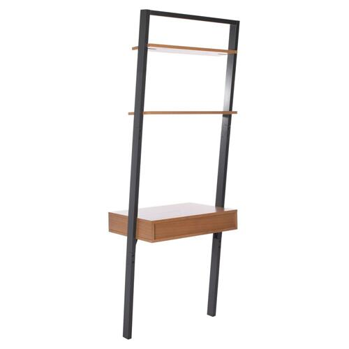 Kamy 2 Shelf Leaning Desk - Natural / Charcoal