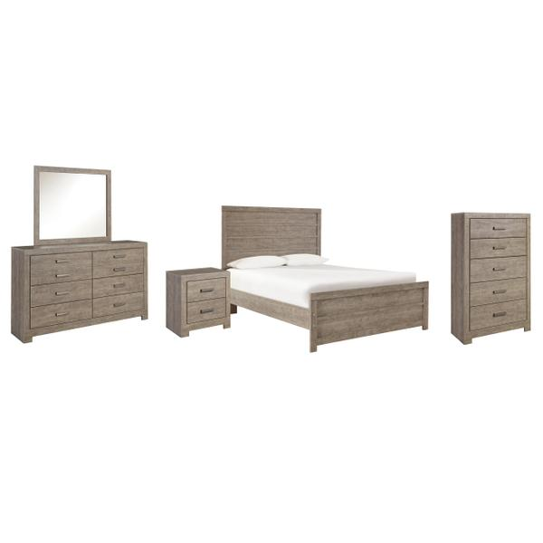 See Details - Full Panel Bed With Mirrored Dresser, Chest and Nightstand