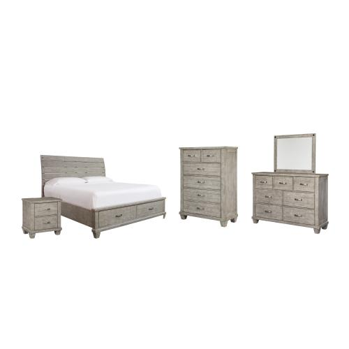 Product Image - California King Panel Bed With 2 Storage Drawers With Mirrored Dresser, Chest and Nightstand