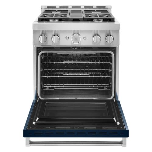 KitchenAid® 30'' Smart Commercial-Style Gas Range with 4 Burners - Ink Blue