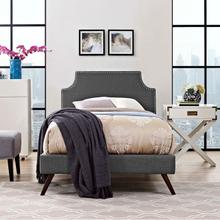 View Product - Corene Twin Fabric Platform Bed with Round Splayed Legs in Gray