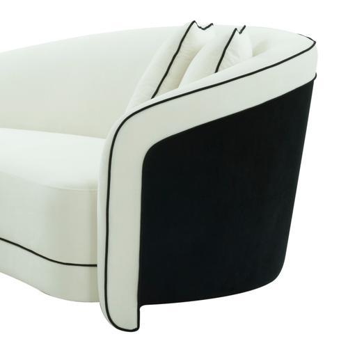 Tov Furniture - Carla Cream and Black Velvet Sofa