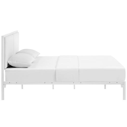Della King Vinyl Bed in White White