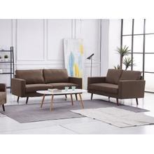 See Details - 8123 2PC BROWN Linen Stationary Basic Living Room SET