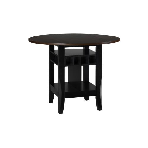 "Braden Antique Black 48"" Dropleaf Counter Height Table With Two Stools"