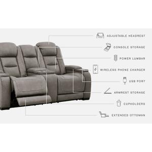 Signature Design By Ashley - The Man-den Power Reclining Loveseat With Console