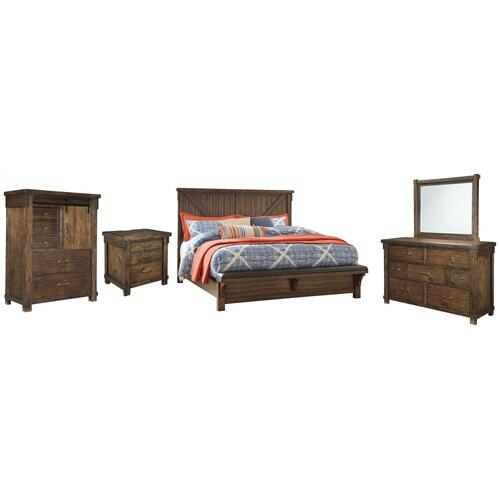 California King Panel Bed With Upholstered Bench With Mirrored Dresser, Chest and Nightstand