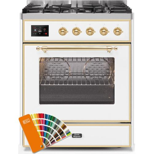 Majestic II 30 Inch Dual Fuel Natural Gas Freestanding Range in Custom RAL Color with Brass Trim
