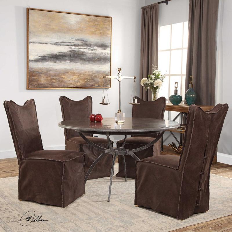 Delroy Armless Chair, Chocolate, 2 Per Box
