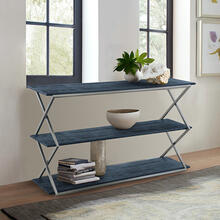 See Details - Westlake 3-Tier Black Console Table with Brushed Stainless Steel Frame