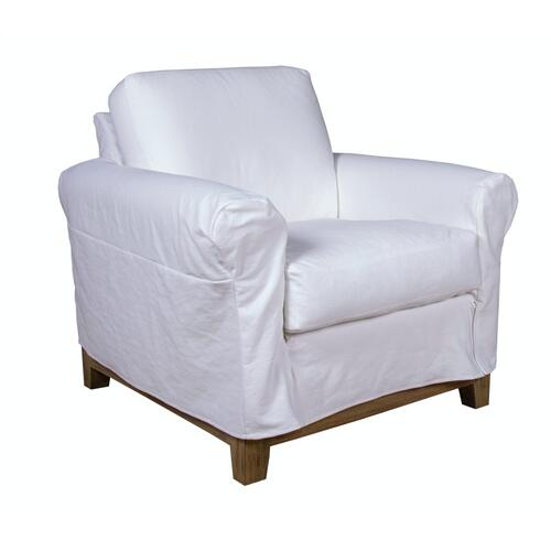 Roll Arm Slipcover Chair, Standard depth, with a Plinth Base.