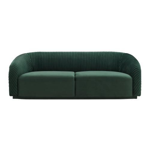 Yara Pleated Forest Green Velvet Sofa by Inspire Me! Home Decor