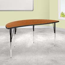 """See Details - 60"""" Half Circle Wave Flexible Collaborative Oak Thermal Laminate Activity Table - Standard Height Adjustable Legs"""