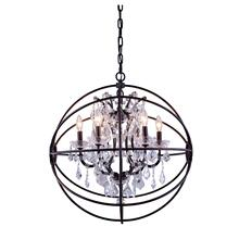 Geneva 6 light Dark Bronze Chandelier Clear Royal Cut crystal