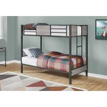 See Details - BUNK BED - TWIN / TWIN SIZE / GREY / DARK GREY METAL