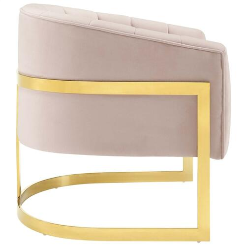 Esteem Vertical Channel Tufted Performance Velvet Accent Armchair in Pink