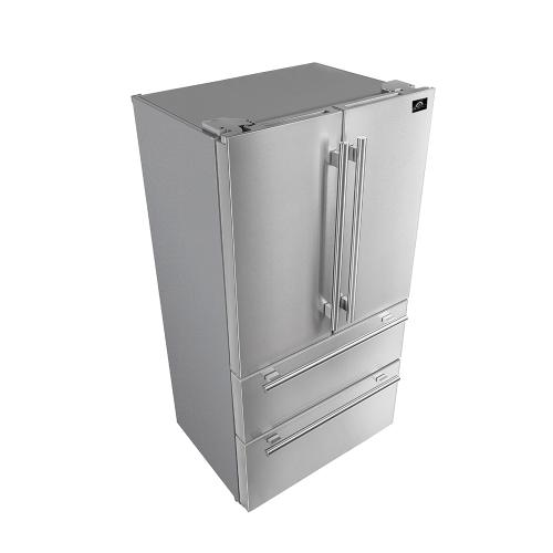 "36"" Refrigerator FORNO ALTA QUALITA Freestanding French Doors With Ice Maker, 19.2 cu.ft. FFRBI1820-36S"