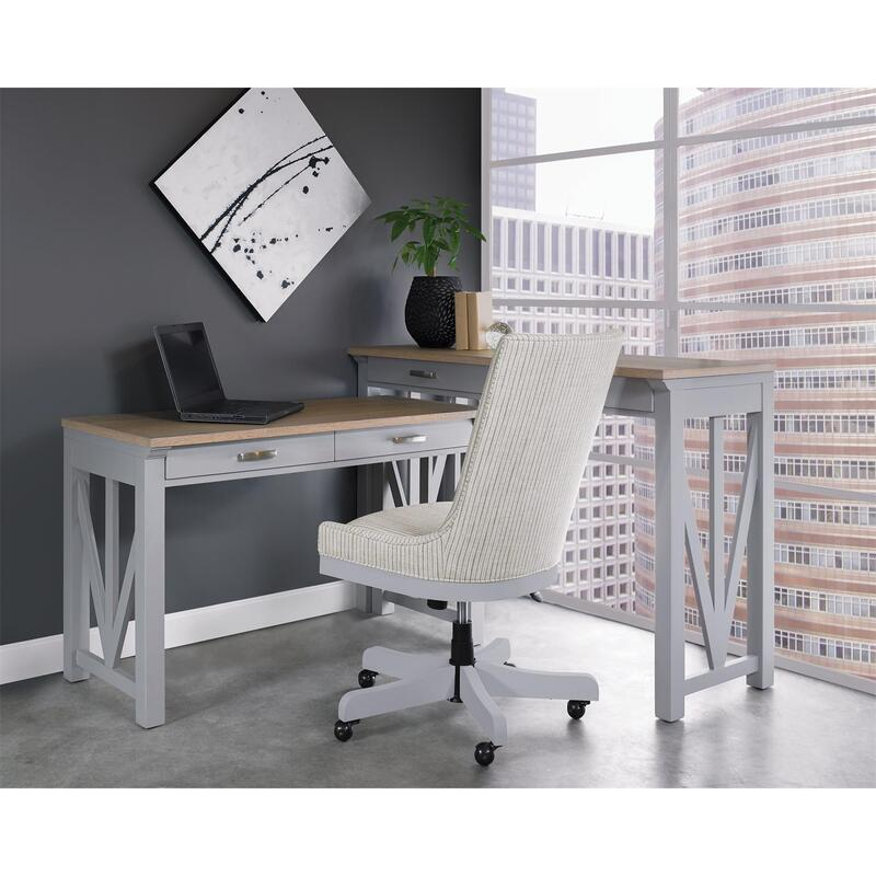 See Details - Osborne - Upholstered Desk Chair - Gray Skies Finish
