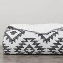Aztec Design Throw With Shearling, 3 Colors, 50x60 - Black