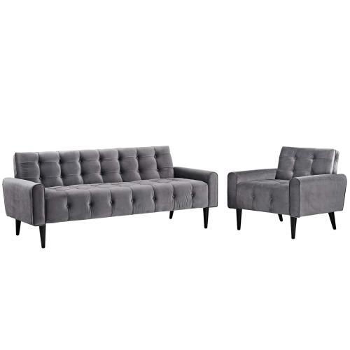 Delve Living Room Set Performance Velvet Set of 2 in Gray