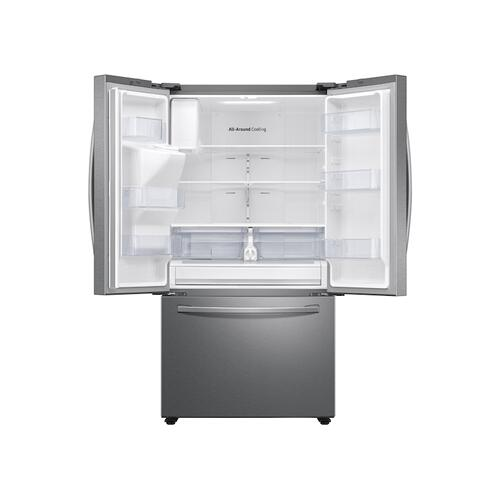 27 cu. ft. Large Capacity 3-Door French Door Refrigerator with External Water & Ice Dispenser in Stainless Steel