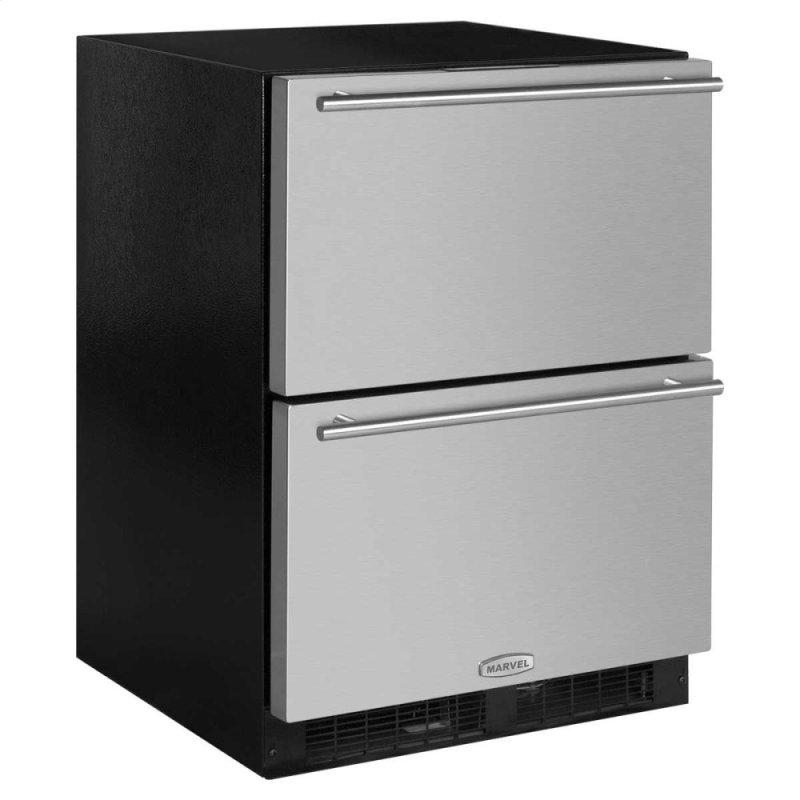 24-In Built-In Refrigerated Drawers with Door Style - Stainless Steel, Door Swing - Field Reversible