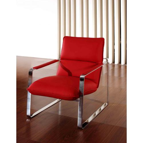 Divani Casa Dunn Modern Red Leather Lounge Chair