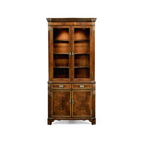Serpentine Mahogany Corner Cabinet