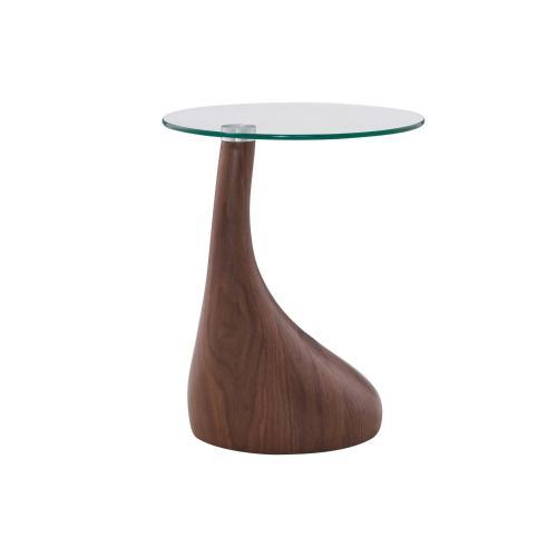 Florian KD End Table Glass Top, Dark Walnut
